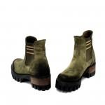 Зелени дамски есенни боти от естествен велур с ластик-1024