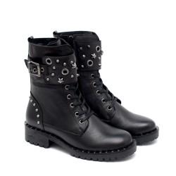 Зимни дамски черни боти от естествена кожа с грайферно ходило-1027