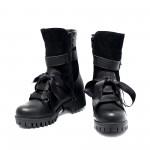 Зимни топли дамски боти черни от естествена кожа и велур с ефектни връзки-1030