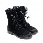 Топли дамски черни боти от естествен велур с дантела-1031
