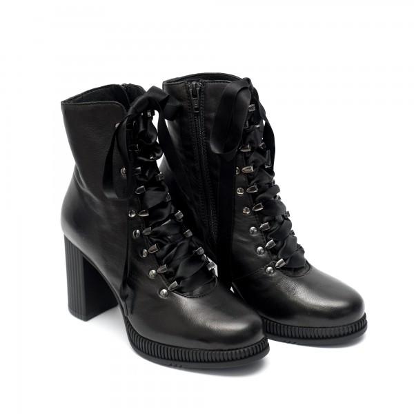 Елегантни черни дамски боти от естествена кожа с връзки от сатен и активен цип с висок ток-1018