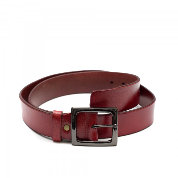 Червен дамски колан с класическа тока от естествена кожа-3931