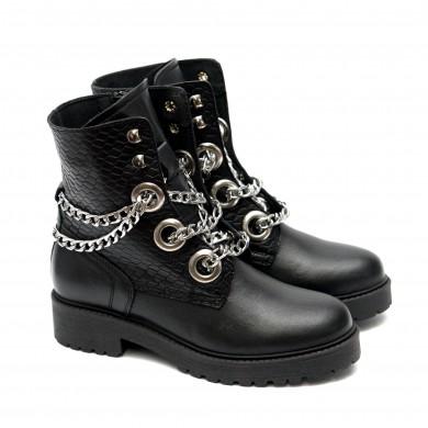 Стилни пънк боти от естествена кожа с метални елементи в черен цвят и активен цип-1026