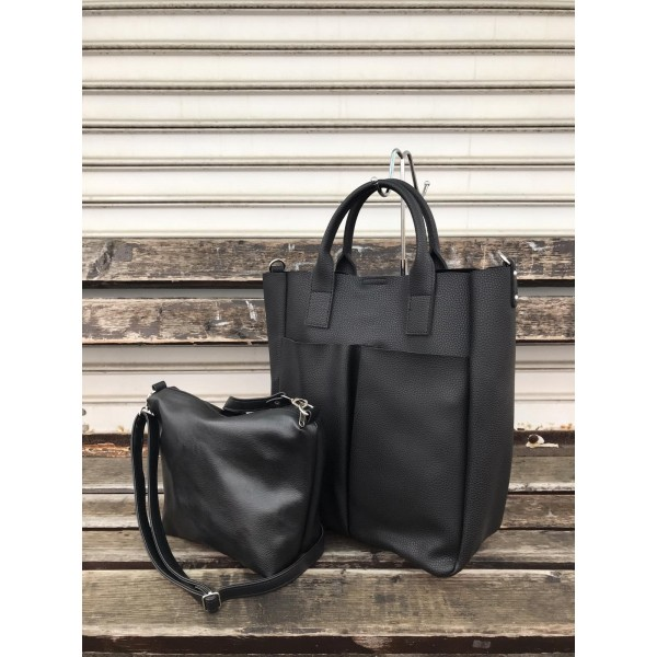 Ежедневна дамска чанта от еко кожа в черен цвят-154