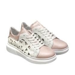 Летни дамски спортнo-елегантни обувки с връзки от естествена кожа в цвят пудра-848