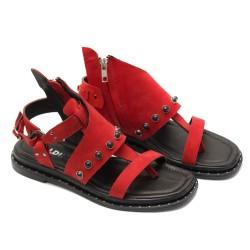 Дамски червени сандали от естествен набук с черни перли-853
