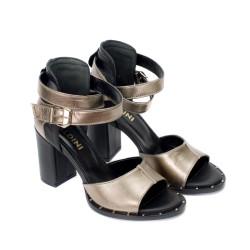 Дамски сандали от естествена кожа на ток в светъл бакър- 856