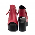 Червени дамски сандали на платформа от естествена кожа-858