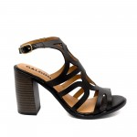Дамски черни сандали от естествена кожа с ток- 866