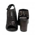 Графитени сандали от естествена кожа с ток- 865