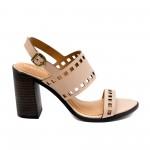 Дамски сандали от естествена кожа в бежов цвят с ток-867