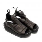 Дамски черни сандали от естествена кожа с връзки-868
