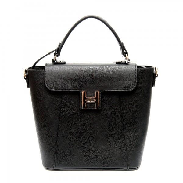Дамска черна чанта от еко кожа-871