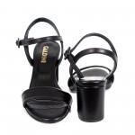 Дамски сандали от естествена кожа черни с ток - 835
