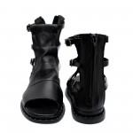 Черни дамски сандали от естествена кожа- 843