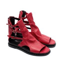 Червени дамски сандали от естествена кожа - 844
