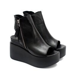 Черни дамски летни платформи от естествена кожа- 845