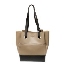 Дамска ежедневна чанта от еко кожа в цвят бежов с черно-349