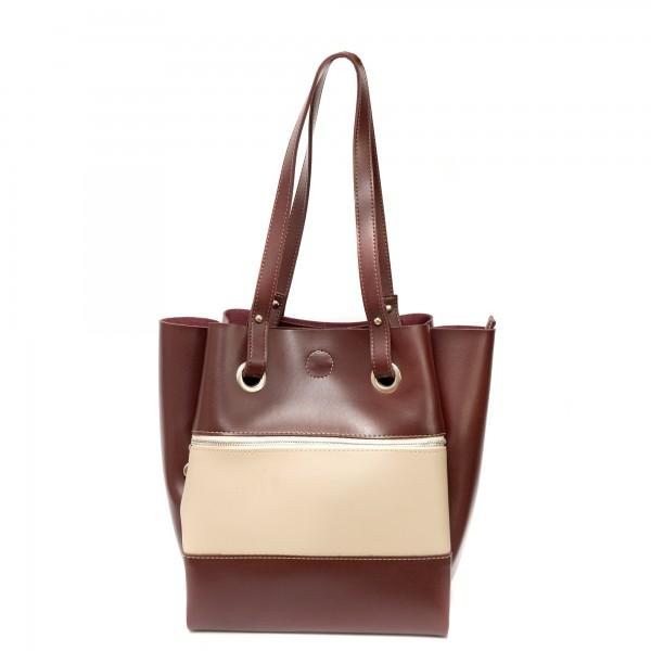 Дамска ежедневна чанта от еко кожа в цвят бордо и бежаво-349