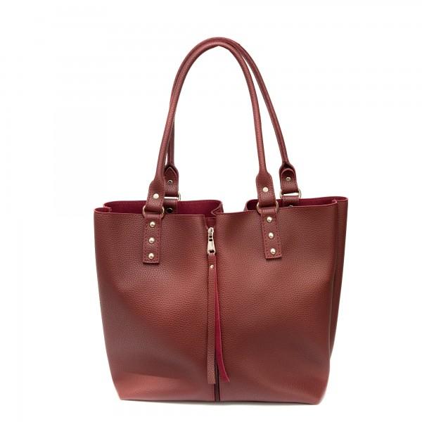 Дамска ежедневна чанта от еко кожа бордо-313