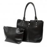Дамска ежедневна чанта от еко кожа в черно-313