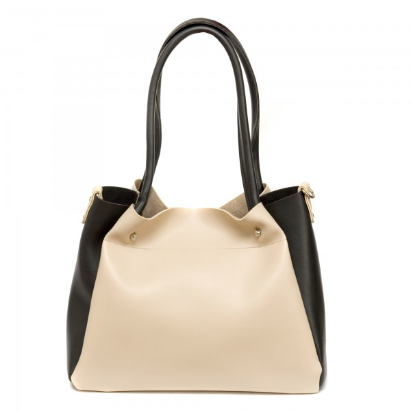Дамска ежедневна чанта от еко кожа бежаво с черно- 268