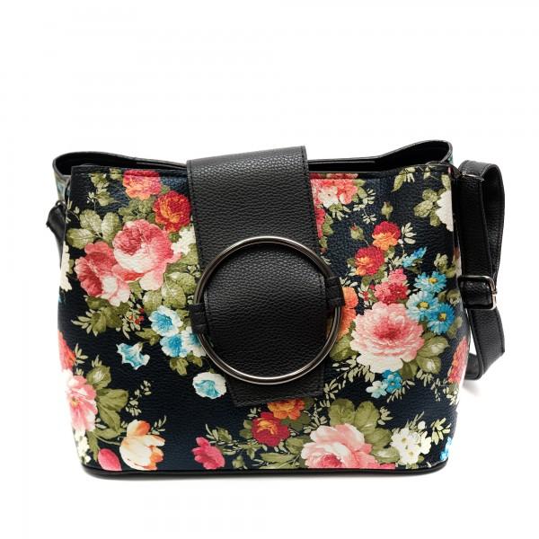 Дамска ежедневна чанта от еко кожа черна с цветя-502