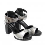 Дамски сандали от естествена кожа на висок ток в сребрист цвят-823
