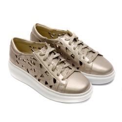 Летни дамски спортнo-елегантни обувки с връзки от естествена кожа в цвят бакър-824