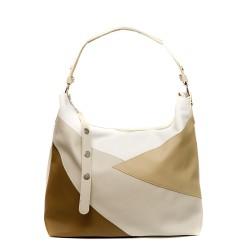 Дамска чанта от мека еко кожа в бяло и бежово-136