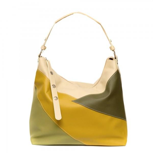 Дамска чанта от мека еко кожа в жълто, зелено и бежово-136