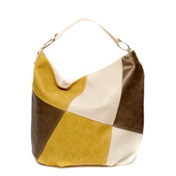 Ежедневна дамска чанта от еко кожа в жълто, бежово и кафяво-367