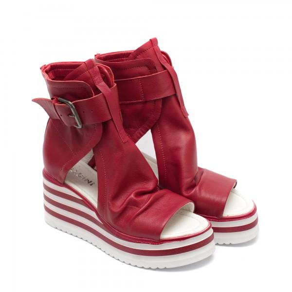 Червени дамски сандали от естествена кожа на платформа-831