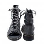 Дамски сандали от естествен набук сиви с връзки капси-838