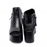 Черни дамски сандали от естествена кожа на платформа-839