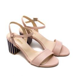 Дамски елегантни сандали от естествена кожа в розово-834