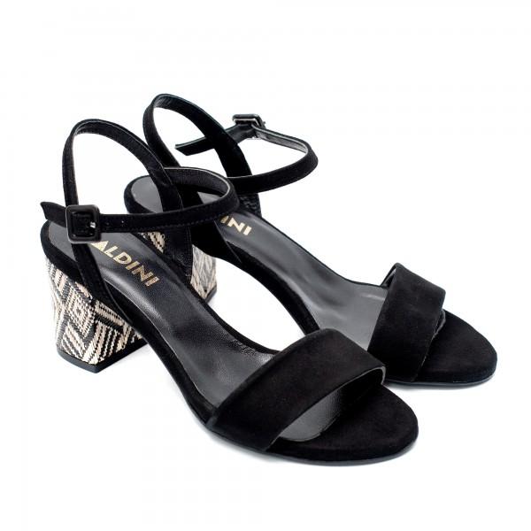 Дамски елегантни сандали от естествен набук в черно и шарен ток-836