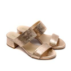 Златни дамски летни чехли от естествена кожа-837