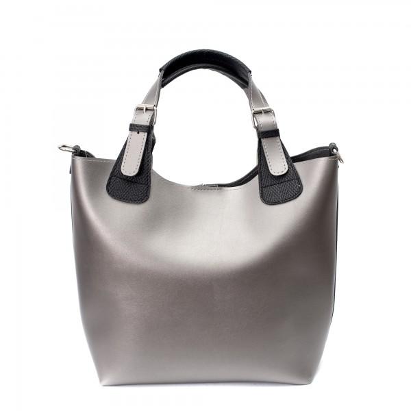 Сребриста ежедневна дамска чанта от еко кожа-704