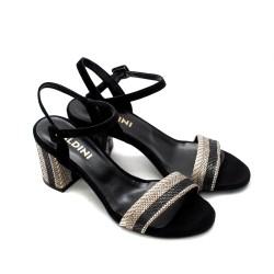 Дамски елегантни сандали от естествен велур в черно и бежово-840