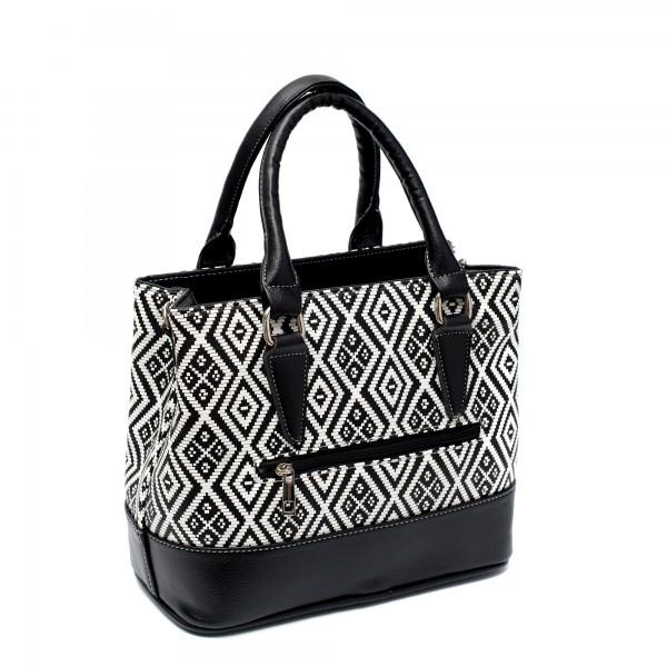 Малка дамска чанта от еко кожа черно-бяла-180