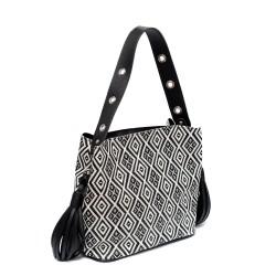 Двуцветна дамска чанта от еко кожа в черно и бяло-145