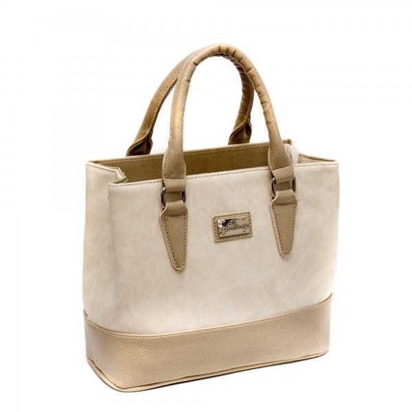 Дамска елегантна чанта от еко кожа в бежово-180