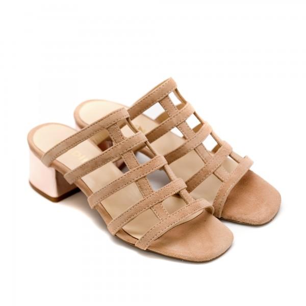Дамски летни чехли от естествен велур в цвят пудра-841