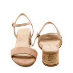 Летни дамски сандали от естествен велур в цвят пудра-842