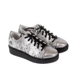 Дамски пролетни обувки от естествена кожа в металически цветове връзки-1229