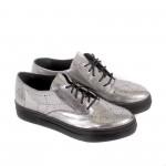 Спортно елегантни дамски обувки от естествена кожа в сив цвят-1228