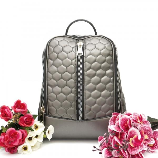 Дамска чанта тип раница от сива еко кожа с ефектни ципове-994