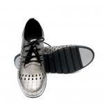 Дамски обувки с перфорация в сив цвят от естествена кожа с връзки-1182