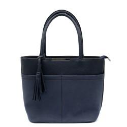 Синя елегантна дамска чанта от еко кожа и набук-682а
